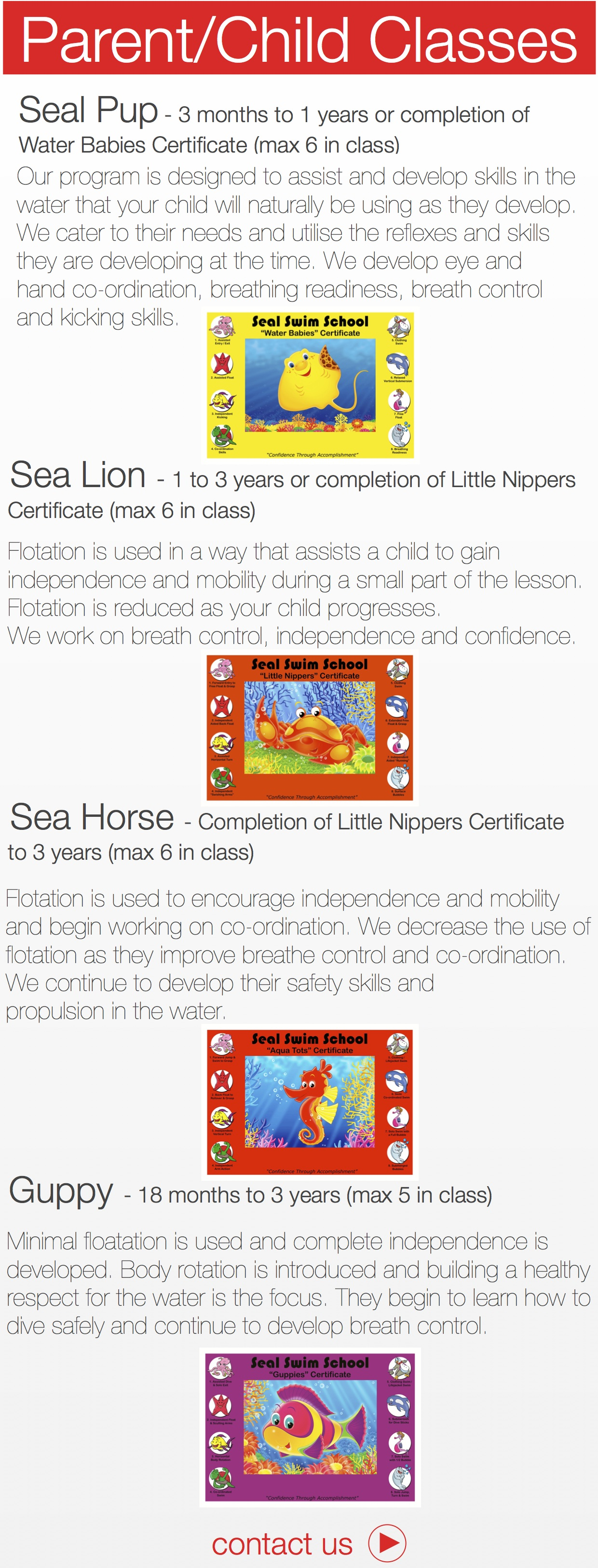 Sea Lion - 1 to 3 years or completion of Little Nippers Certificate (max 6 in class) Flotation is used in a way that assists a child to gain independence and mobility during a small part of the lesson. Flotation is reduced as your child progresses. We work on breath control, independence and confidence. Sea Horse - Completion of Little Nippers Certificate to 3 years (max 6 in class) !Flotation is used to encourage independence and mobility and begin working on co-ordination. We decrease the use of flotation as they improve breathe control and co-ordination. We continue to develop their safety skills and propulsion in the water. Guppy - 18 months to 3 years (max 5 in class) Minimal floatation is used and complete independence is developed. Body rotation is introduced and building a healthy respect for the water is the focus. They begin to learn how to dive safely and continue to develop breath control. Water Babies Certificate (max 6 in class) !Our program is designed to assist and develop skills in the water that your child will naturally be using as they develop. We cater to their needs and utilise the reflexes and skills they are developing at the time. We develop eye and hand co-ordination, breathing readiness, breath control and kicking skills.